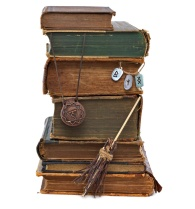 Witch books isolated with runes and medallion